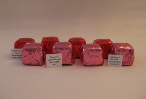 pink and red dark chocolate Cubze with happy statements- horizontal